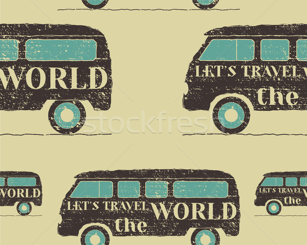 Vintage Seamless pattern camping. Retro Rv and motor home design. Travel theme. Vector Stock photo © JeksonGraphics