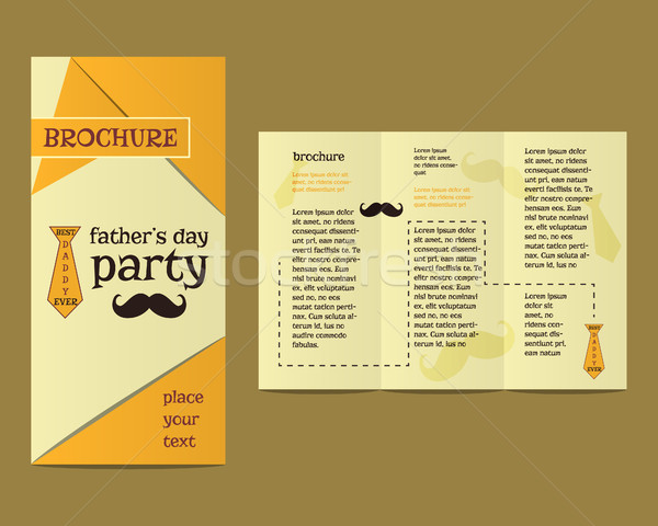 Happy Fathers Day flyer and brochure template with mustache and tie elements Best for thematic party Stock photo © JeksonGraphics