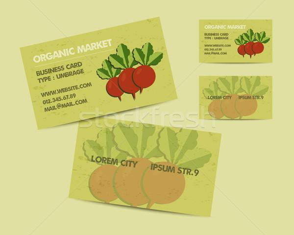 Summer Farm Fresh branding identity elements. Business card template. Organic design. Mock up. Best  Stock photo © JeksonGraphics