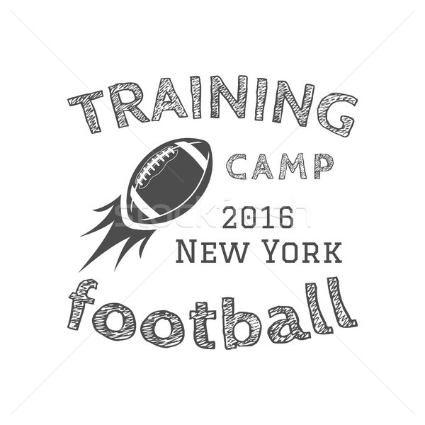 American football training camp logotype, emblem, label, badge in retro color style. Graphic vintage Stock photo © JeksonGraphics