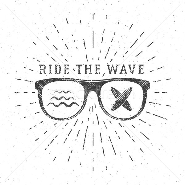 Vintage Surfing Graphics and Poster for web design or print. Surfer glasses emblem, summer beach log Stock photo © JeksonGraphics