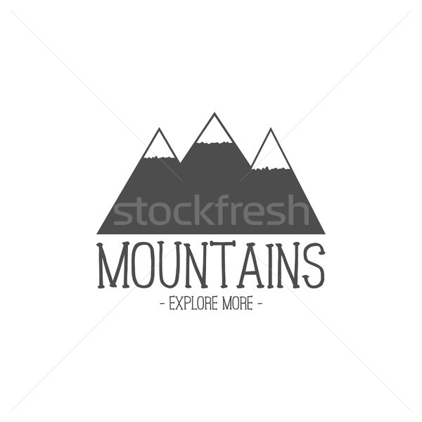 Hand drawn mountain badge. Wilderness old style typography label. Letterpress Print Rubber Stamp Eff Stock photo © JeksonGraphics