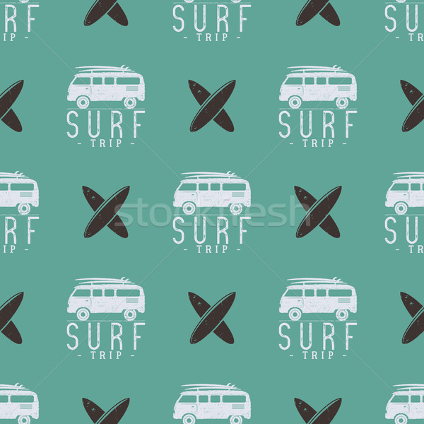 Surfing trip pattern design. Summer seamless with surfer van, surfboards. Monochrome combi car. illu Stock photo © JeksonGraphics