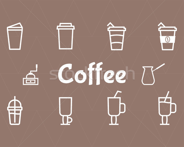 Stock photo: Coffee Line Icons Set
