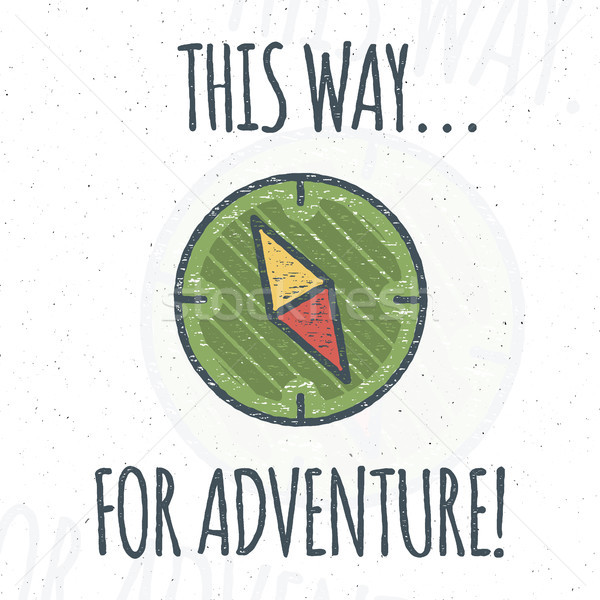 Camping logo design with typography and travel elements - compass. Vector text - this way for advent Stock photo © JeksonGraphics