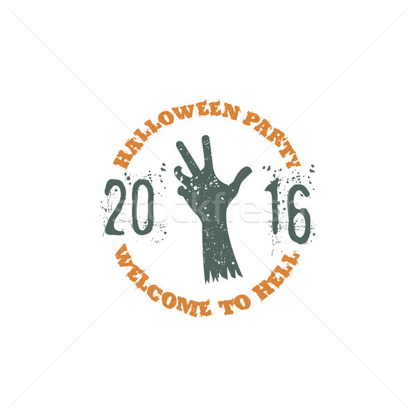 Halloween partij label sjabloon zombie hand Stockfoto © JeksonGraphics