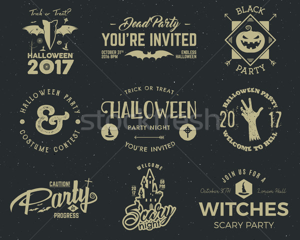Halloween 2017 party label templates with scary symbols - zombie hand, witch hat, bat, pumpkin and t Stock photo © JeksonGraphics