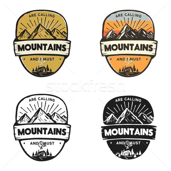 Viajar design de logotipo conceitos monocromático retro cores Foto stock © JeksonGraphics