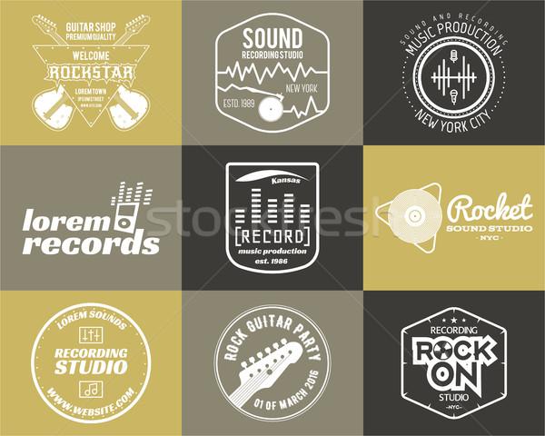 Ingesteld muziek productie logo musical label Stockfoto © JeksonGraphics