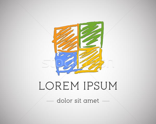 Iş teknoloji soyut logo şablon marka Stok fotoğraf © JeksonGraphics