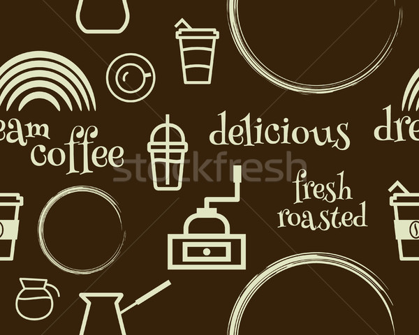 Coffee seamless pattern with stains, line coffee icons and keywords. Vector Stock photo © JeksonGraphics