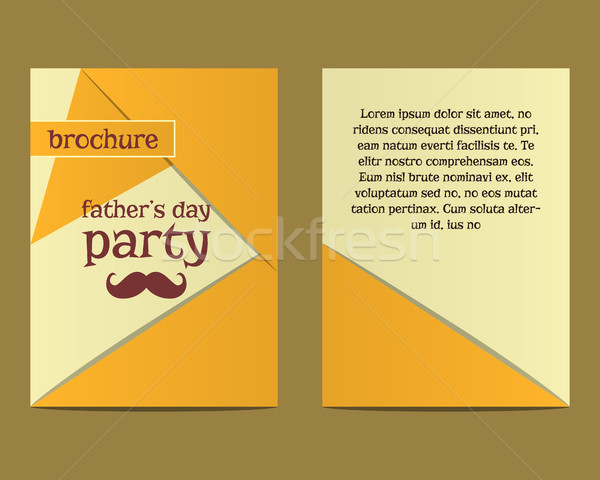 Happy Fathers Day flyer and brochure template with mustache and tie elements. Triangle design. Best  Stock photo © JeksonGraphics