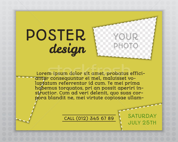 Summer yellow stylish poster invitation template with unusual design. Corporate identity. Isolated o Stock photo © JeksonGraphics