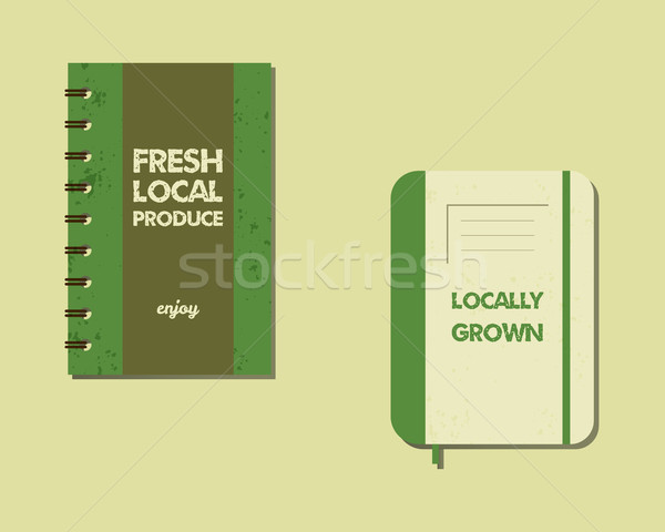 Stylish Farm Fresh brand book, notebook templates with ecology logo. Organic, eco, bio. Mock up desi Stock photo © JeksonGraphics