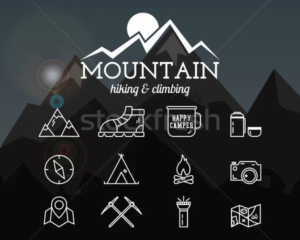Summer mountain camp badge, logo template and label. Travel, hiking, climbing line icons. Thin outli Stock photo © JeksonGraphics