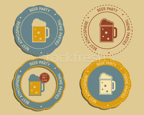 Beer party logo and badge templates with glass of beer. Vintage design for club, pub or night beer p Stock photo © JeksonGraphics