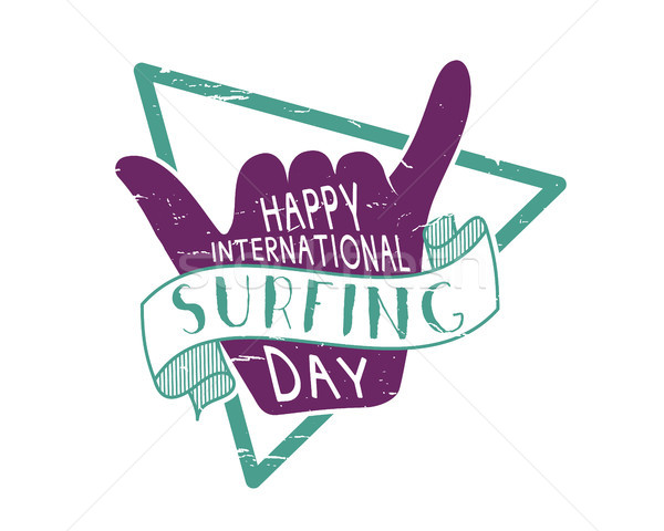 Summer international surfing day 2016 tattoo design. Vector Vacation typography print emblem. Surfer Stock photo © JeksonGraphics