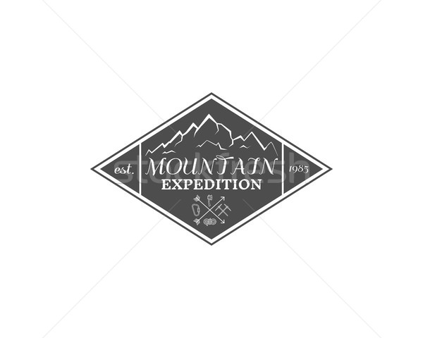 Vintage mountain expedition, climbing hiking camping badge, outdoor logo, emblem and label concept f Stock photo © JeksonGraphics