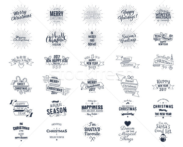 Big Christmas bundle - typography wishes, funny badges, holiday icons and other elements. New Year 2 Stock photo © JeksonGraphics