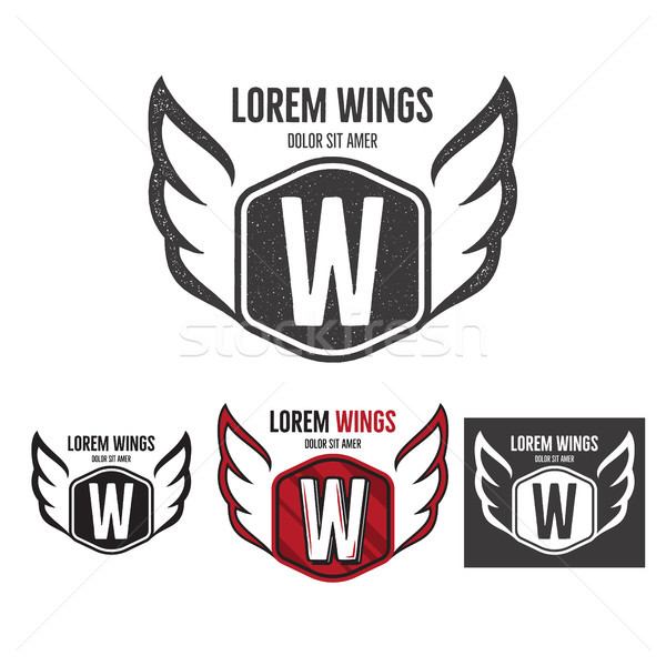 Modern wings shield template logo design. Monochrome, silhouette, color, retro rough versions. Vecto Stock photo © JeksonGraphics