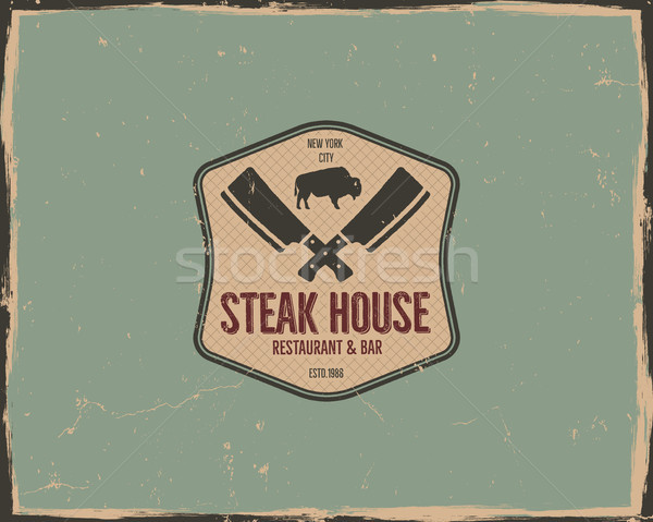 Steak house poster or logo design. Bar and grill logotype, emblem. Food label in retro colors style. Stock photo © JeksonGraphics