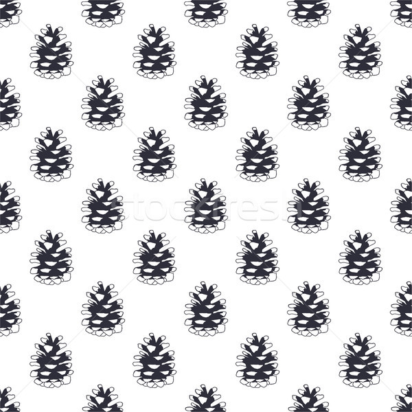 Vintage hand drawn pine cone pattern design. Pinecone seamless wallpaper. Monochrome retro design. V Stock photo © JeksonGraphics