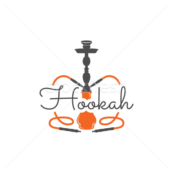 Hookah ontspannen label badge vintage logo Stockfoto © JeksonGraphics