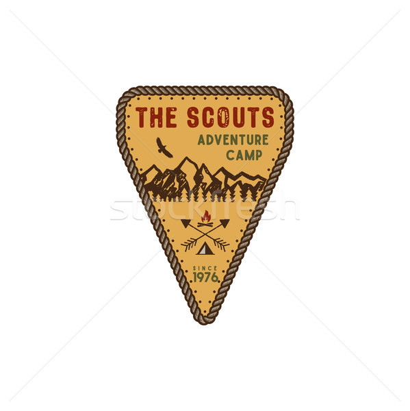 Traveling, outdoor badge. Scout adventure camp emblem. Vintage hand drawn design. Retro colors palet Stock photo © JeksonGraphics