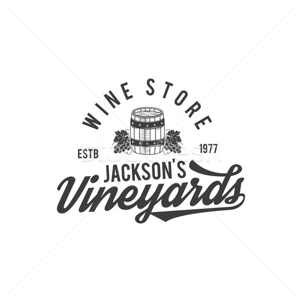 Wein Laden logo Label Abzeichen Stock foto © JeksonGraphics