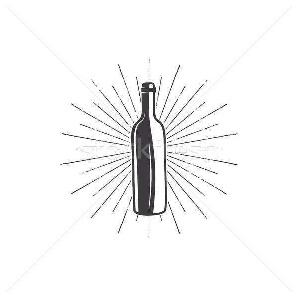Preto garrafa de vinho vinha logotipo vinícola distintivo Foto stock © JeksonGraphics