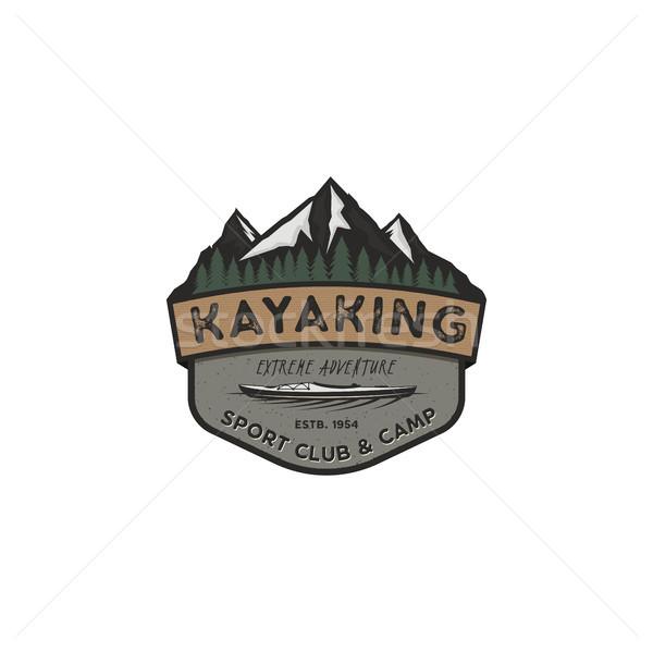 Kajakken vintage badge berg ontdekkingsreiziger label Stockfoto © JeksonGraphics