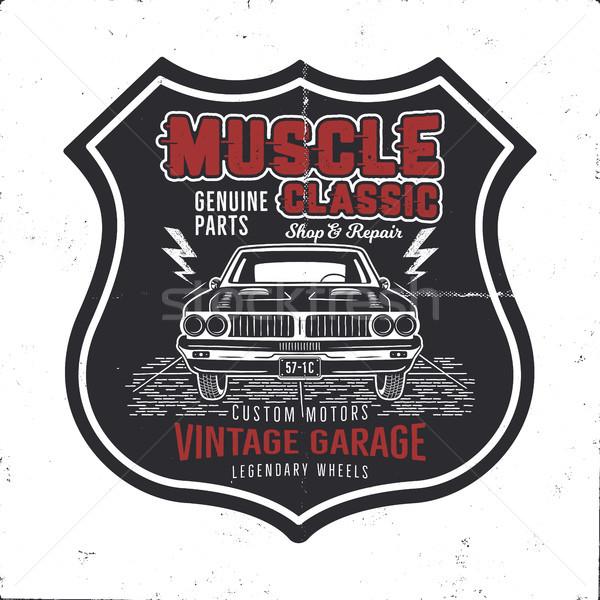 Vintage dibujado a mano muscle car diseno clásico Foto stock © JeksonGraphics