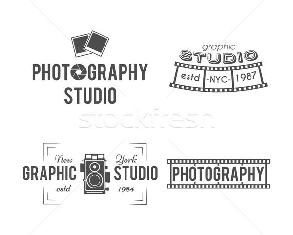 Bağbozumu fotoğrafçılık rozetler etiketler tek renkli dizayn Stok fotoğraf © JeksonGraphics