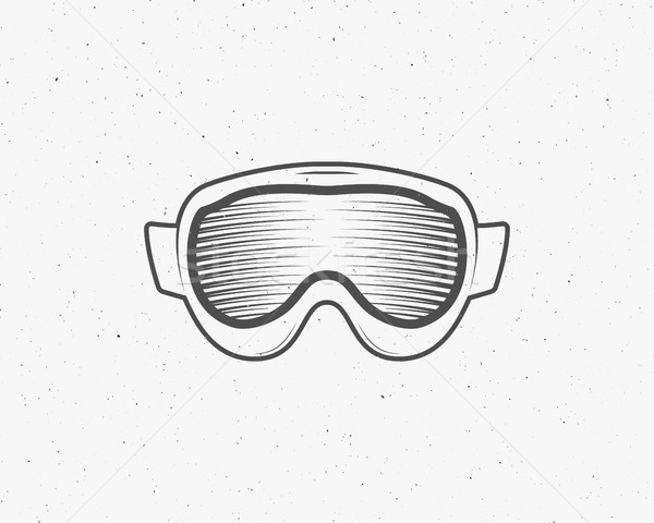 Snowboarding isolated goggles icon, snowboard vector mask, protective equipment. Isolated eyewear sy Stock photo © JeksonGraphics