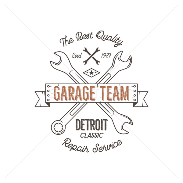 Garage Ouvrir la vintage design graphiques Detroit Photo stock © JeksonGraphics