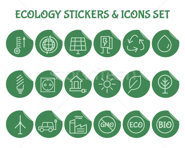 Ecology Outline Icon Set. Stock photo © JeksonGraphics