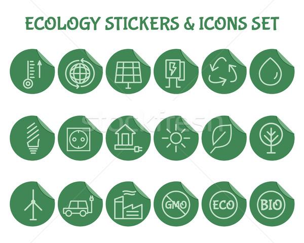 ökológia skicc ikon gyűjtemény zöld környezeti védelem Stock fotó © JeksonGraphics