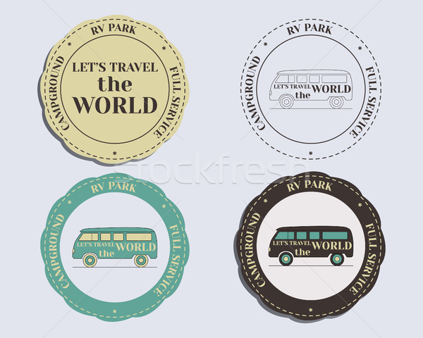 Brand identity elements - logo templates and badges. Rv park and campground. Retro and Vintage color Stock photo © JeksonGraphics