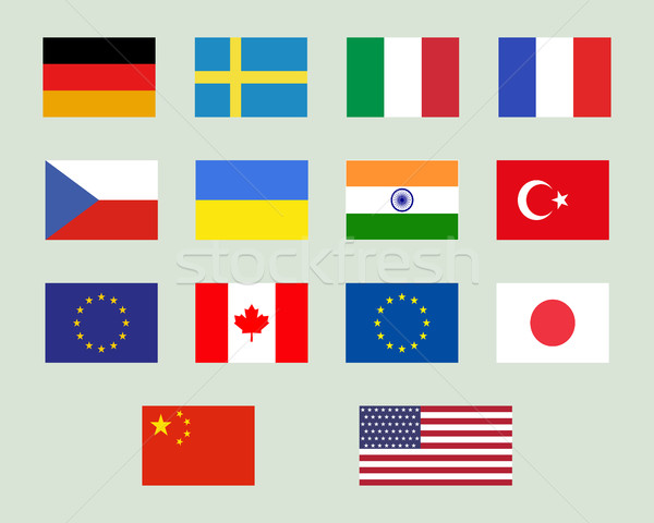 Set of european union, usa, ukraine, china, japan, canadam india flags. Original proportions and off Stock photo © JeksonGraphics