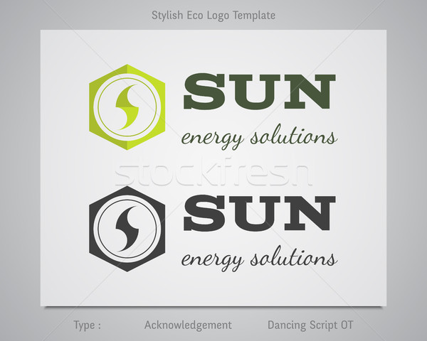 Stock photo: Sun - energy solutions logo template for eco corporation, company, firm or other bio, ecology busine
