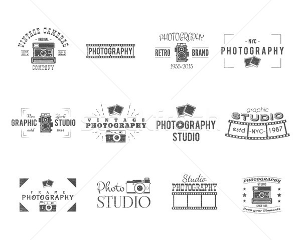 Vintage Textured Photography Badges, Labels. Monochrome design with stylish cameras and elements. Re Stock photo © JeksonGraphics