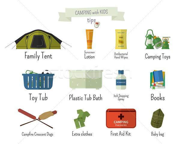 Camping with kids. Tips. Set of flat adventure traveling elements and symbols with text signs. Summe Stock photo © JeksonGraphics