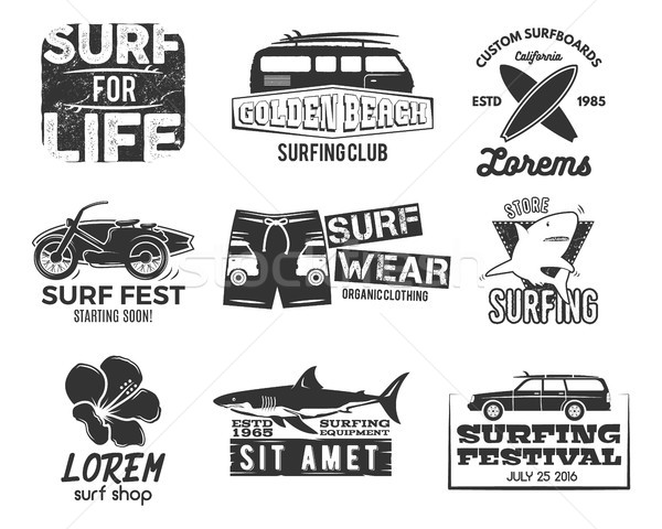Set of Vintage Surfing Graphics and Emblems for web design or print. Surfer, beach style logo . Surf Stock photo © JeksonGraphics