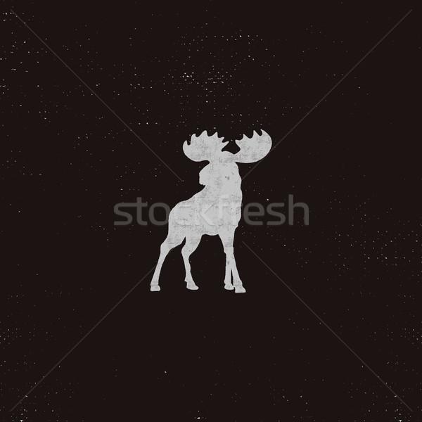 Moose icona effetto retro pittogramma Foto d'archivio © JeksonGraphics