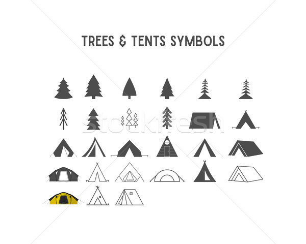 Stock photo: Trees and tent vector shapes  elements for creation your own outdoor labels, hipster retro patches,