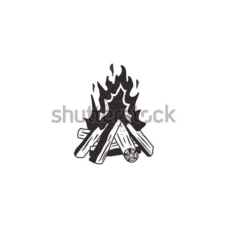 şenlik ateşi Retro ikon el ahşap imzalamak Stok fotoğraf © JeksonGraphics