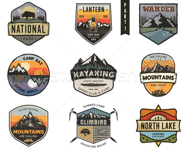 Set of vintage hand drawn travel badges. Camping labels concepts. Mountain expedition logo designs.  Stock photo © JeksonGraphics