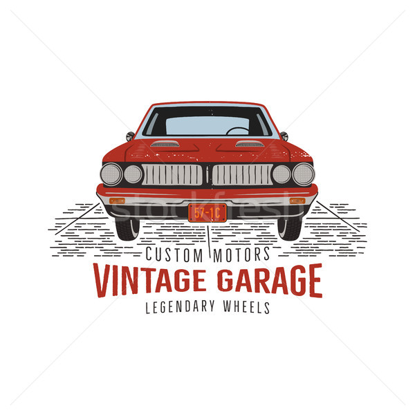 Vintage hand drawn muscle car. Retro red american auto symbol design. USA Classic automobile emblem  Stock photo © JeksonGraphics