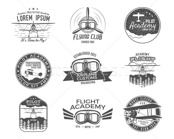 Vintage airplane emblems. Biplane labels. Retro Plane badges, design elements. Aviation stamps colle Stock photo © JeksonGraphics