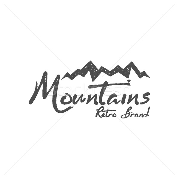 Hand drawn mountain badge. Wilderness old style typography print, web label. Letterpress Print Rubbe Stock photo © JeksonGraphics